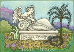 Art: MOURNING ART RECLINING ANGEL CRYPT by Artist Susan Brack