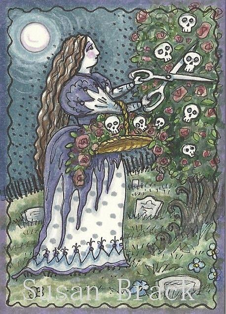 Art: DEADHEADING THE ROSES by Artist Susan Brack