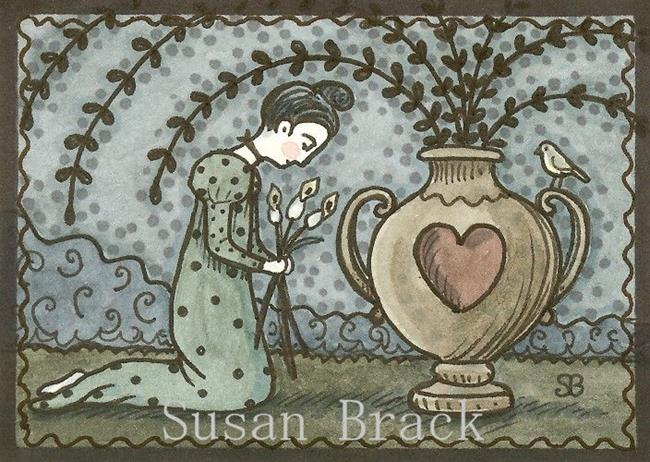 Art: MOURNING ART WILLOW AND URN by Artist Susan Brack