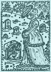 Art: WINTER BLUES - Cemetery Stamp by Artist Susan Brack