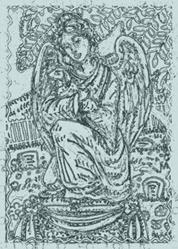 Art: GUARDIAN ANGEL - Cemetery Headstone Stamp by Artist Susan Brack