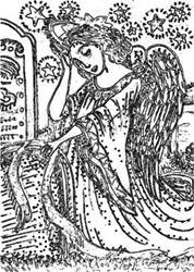Art: ANGEL OF DEATH - Cemetery Stamp by Artist Susan Brack