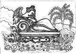 Art: MOURNING ART RECLINING ANGEL CRYPT - Cemetery Stamp by Artist Susan Brack