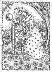 Art: FAREWELL TO THEE - Widow Stamp by Artist Susan Brack