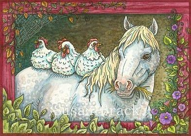 Art: HENS IN THE STABLE by Artist Susan Brack
