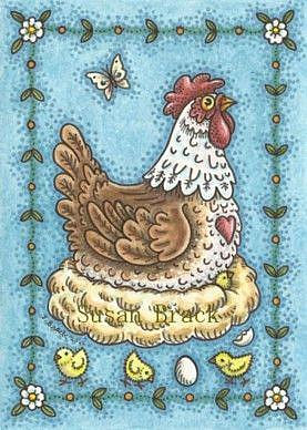 Art: COUNTRY HEN AND CHICKS by Artist Susan Brack