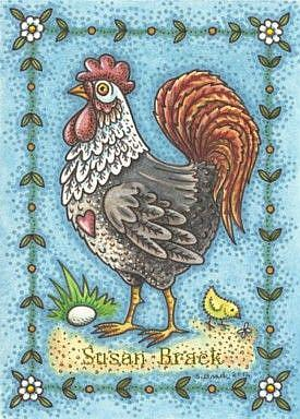 Art: COUNTRY ROOSTER AND CHICK by Artist Susan Brack