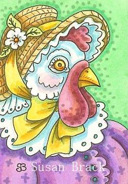 Art: HEN IN STRAW BONNET by Artist Susan Brack