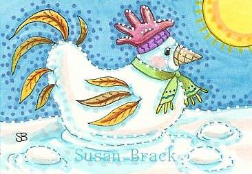 Art: SNOW HEN by Artist Susan Brack