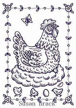 Art: Chicken HEN STAMP by Artist Susan Brack