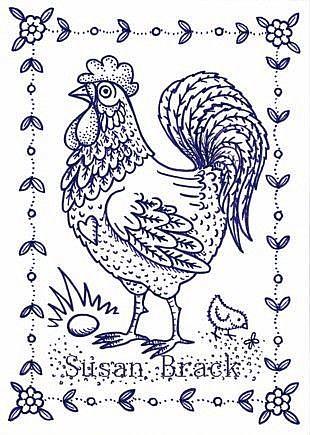 Art: Chicken ROOSTER STAMP by Artist Susan Brack