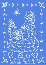 Art: Blue CHICKEN STAMP by Artist Susan Brack