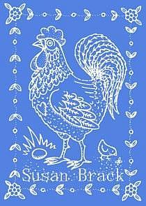 Art: Blue ROOSTER STAMP by Artist Susan Brack