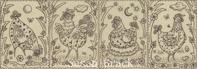 Art: SEPIA DOODLE CHICKENS #4 Repeat Border by Artist Susan Brack