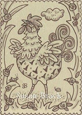 Art: SEPIA DOODLE CHICKEN SERIES #1 ROOSTER by Artist Susan Brack