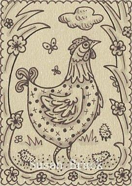Art: SEPIA DOODLE CHICKEN SERIES #3 CHICKS by Artist Susan Brack