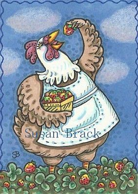 Art: STRAWBERRY HEN by Artist Susan Brack