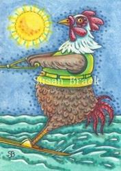Art: ROOSTER ON WATER by Artist Susan Brack