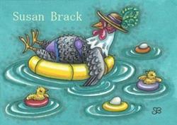 Art: DIP IN THE POOL CHICKS by Artist Susan Brack