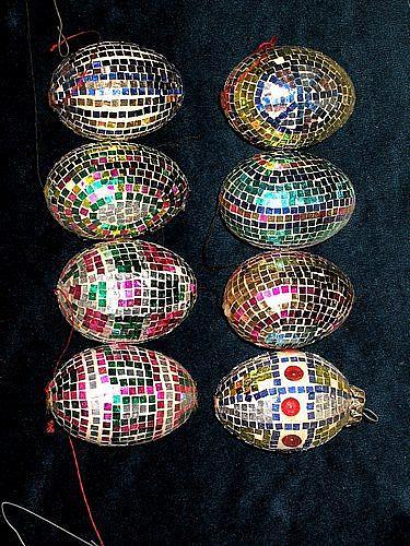 Art: Glitter Mosaic Christmas Eggs by Artist Theodora Demetriades