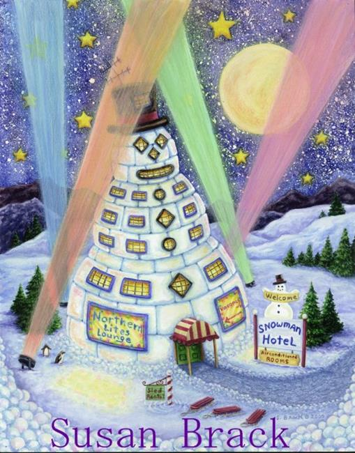 Art: SNOWMAN MOTEL by Artist Susan Brack