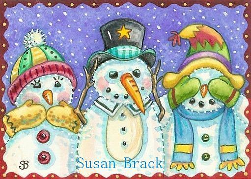 Art: SNOWMEN SEE NO EVIL 2 by Artist Susan Brack