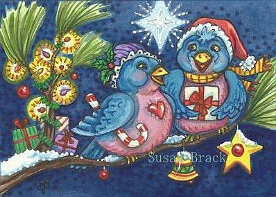 Art: BLUEBIRDS OF CHRISTMAS by Artist Susan Brack