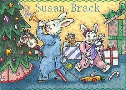 Art: BUNNIES ON A CHRISTMAS MORN by Artist Susan Brack