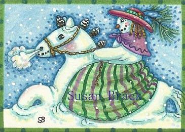 Art: WINTER'S RIDE ON A PINECONE PONY by Artist Susan Brack