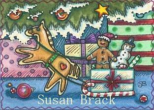 Art: GIDDY UP GINGERBREAD MAN by Artist Susan Brack