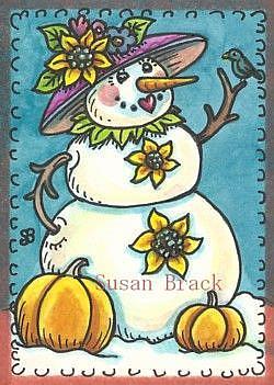 Art: SUNFLOWER SNOW LADY by Artist Susan Brack