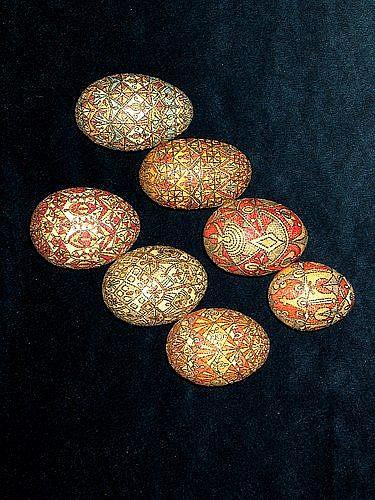 Art: Grouping of Paper Mosaic  Eggs by Artist Theodora Demetriades