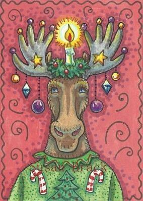Art: XMAS MOOSE by Artist Susan Brack
