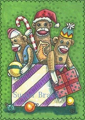 Art: WISHING YOU A BOX OF SOCK MONKEYS by Artist Susan Brack