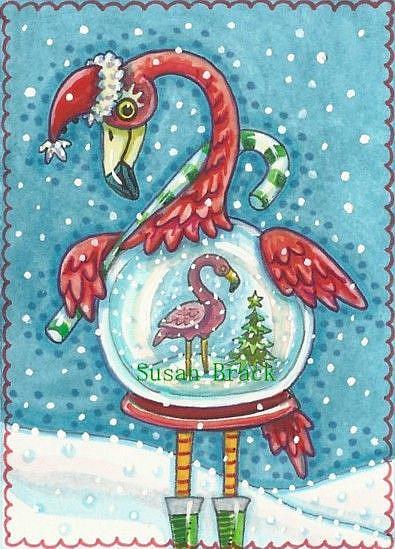 Art: FLAMINGO WHITE CHRISTMAS by Artist Susan Brack