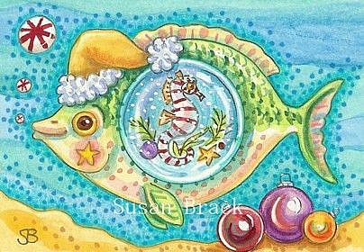 Art: CANDY CANE SEAHORSE AND PEPPERMINT BUBBLES by Artist Susan Brack