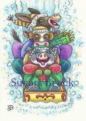 Art: HOLD ON TIGHT PIG by Artist Susan Brack