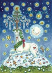 Art: MAGIC OF A CHRISTMAS UNICORN by Artist Susan Brack