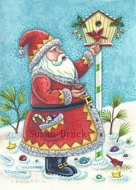 Art: KRIS KRINGLE AND RED BIRDS by Artist Susan Brack