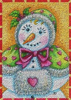 Art: COLD HANDS WITH A WARM HEART Snowman Lady Christmas Rug Needlepoint by Artist Susan Brack