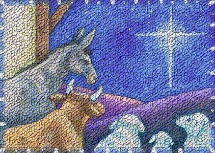 Art: PEACE ON EARTH Nativity Rug Tapestry Needlepoint Design by Artist Susan Brack