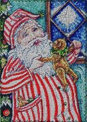Art: SANTA'S DANCING BEAR - Santa Needlework Tapestry Rug by Artist Susan Brack