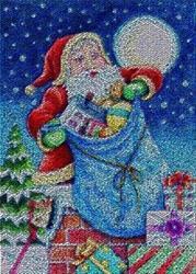 Art: TOYS ON THE ROOF TOP - Santa Needlework Tapestry Rug by Artist Susan Brack