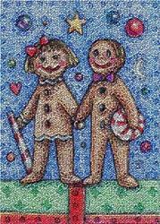 Art: GINGERBREAD BLISS - Needlework Tapestry Rug Pillow by Artist Susan Brack