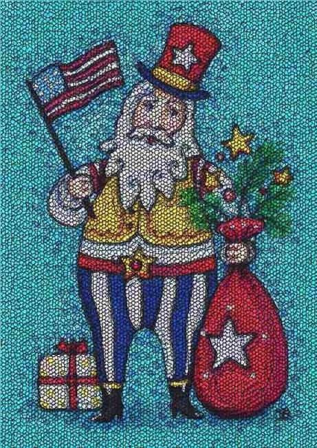 Art: HO HO HO CHRISTMAS IN JULY - Needlework Tapestry Hooked Rug by Artist Susan Brack