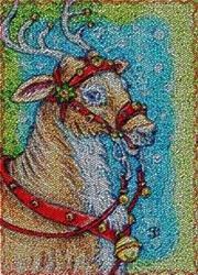 Art: JINGLE BELLS - Reindeer Needlework Rug by Artist Susan Brack