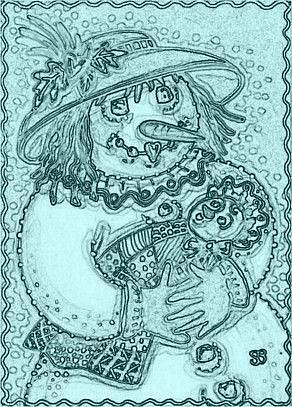 Art: JOY OF A SNOW BABY - Stamp by Artist Susan Brack