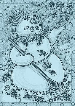 Art: AN EARLY SNOW - Snowman Stamp by Artist Susan Brack