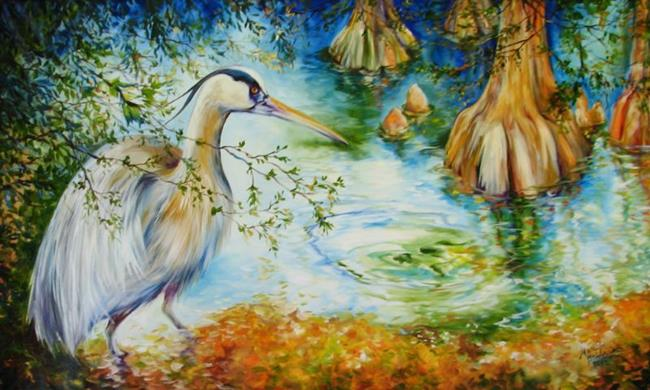 Art: BLUE HERON among CYPRESS by Artist Marcia Baldwin