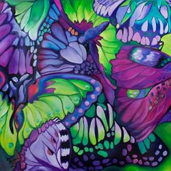 Art: BUTTERFLY ABSTRACT in PURPLE & GREEN for FRANCESCA by Artist Marcia Baldwin